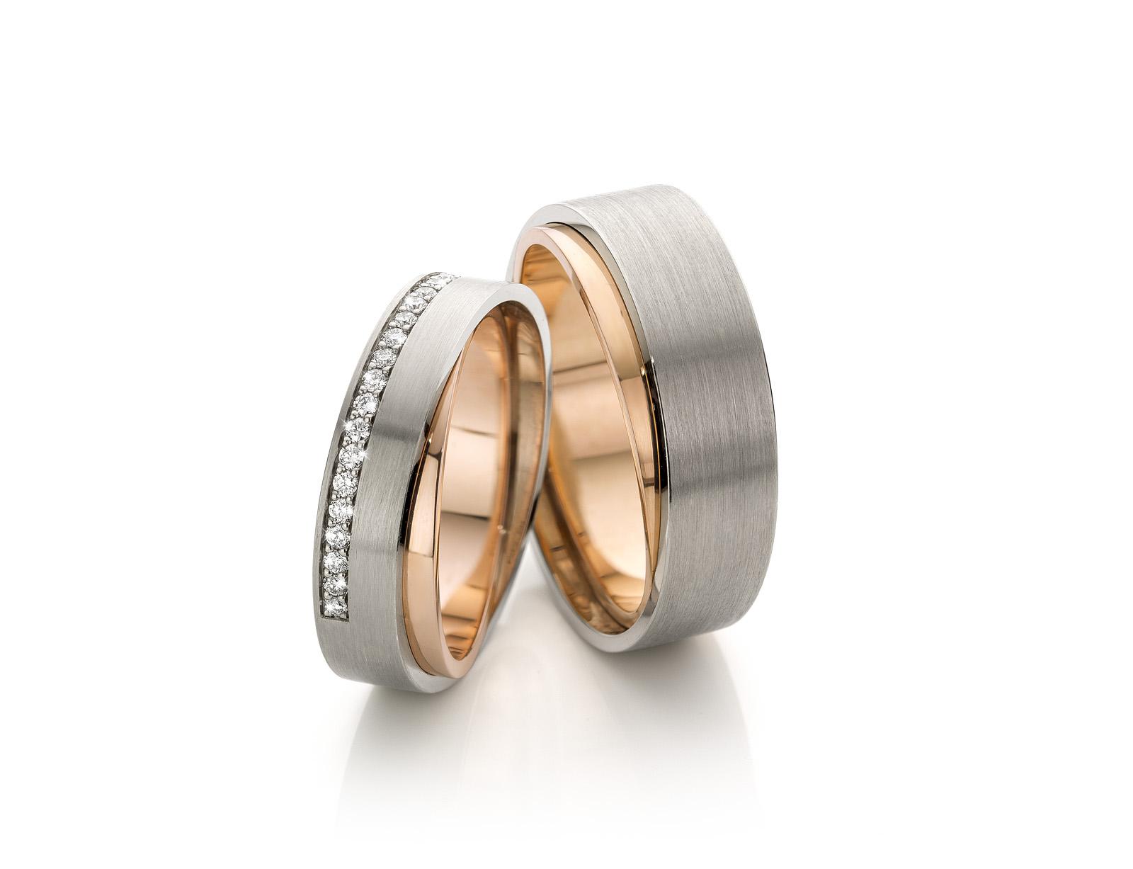 Whitegold and rosegold 14k wedding rings Handmade in the Netherlands