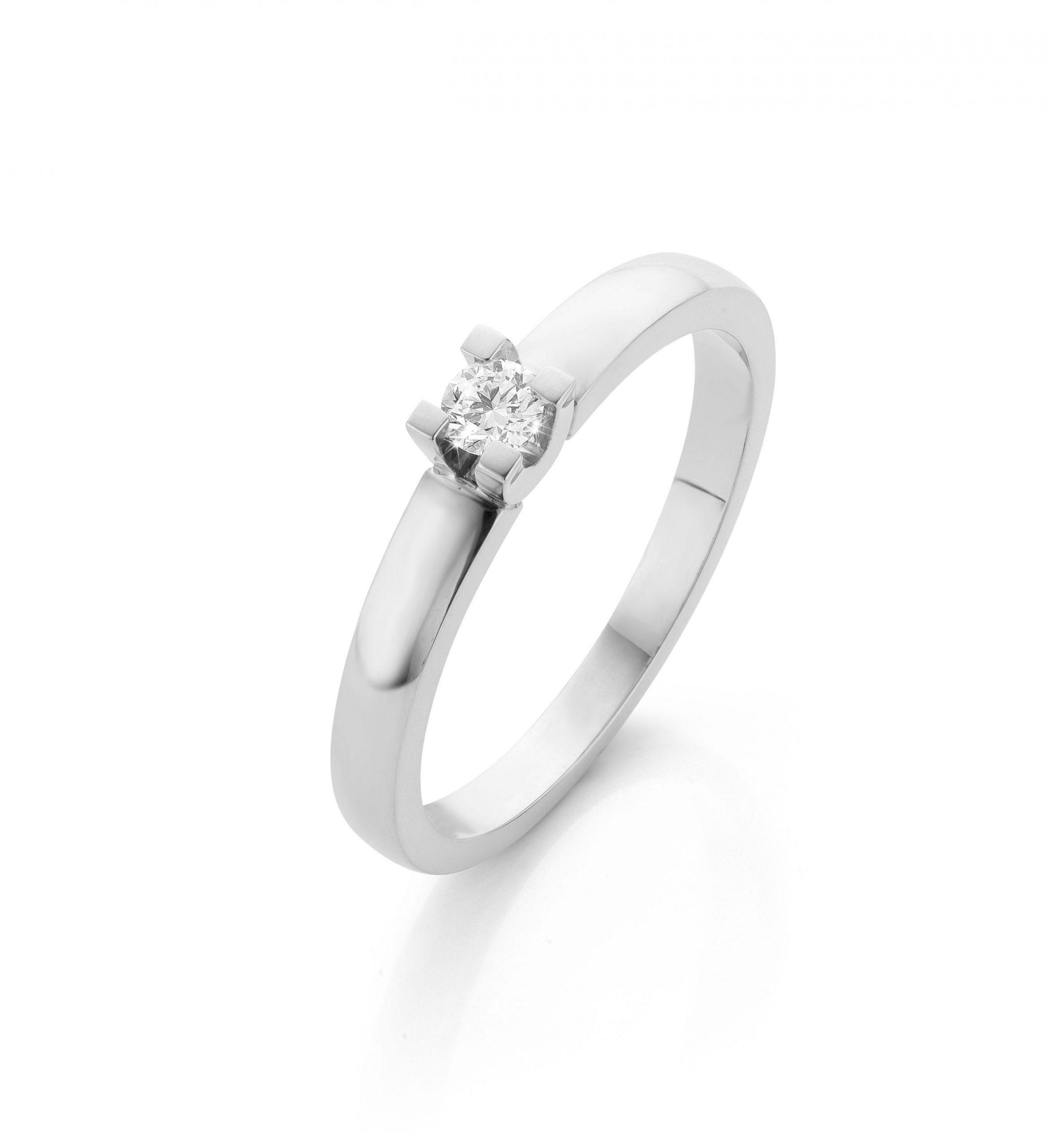 Witgouden verlovingsring met diamant