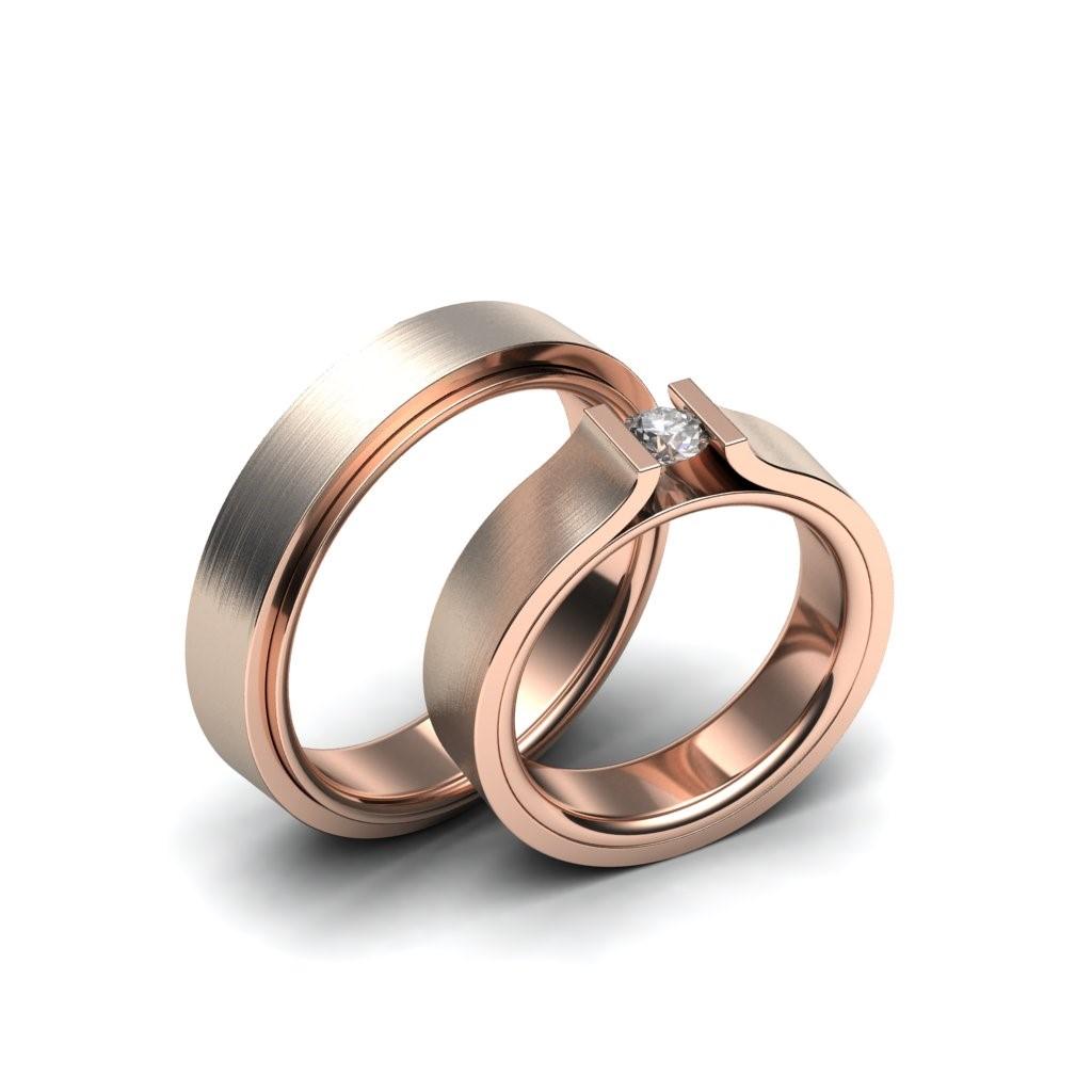 Roségouden trouwringen met diamant