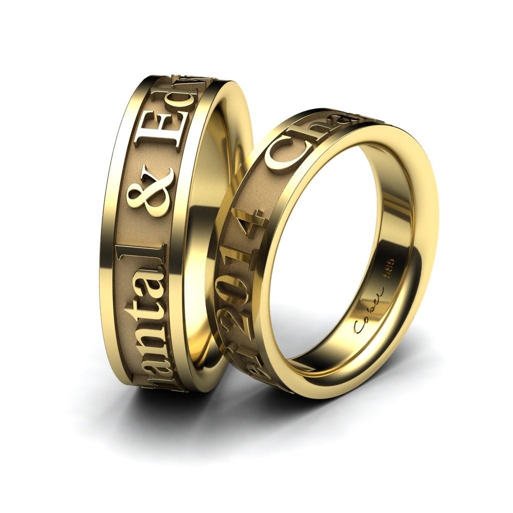 With Names 18 Karat Yellow Gold Wedding Bands