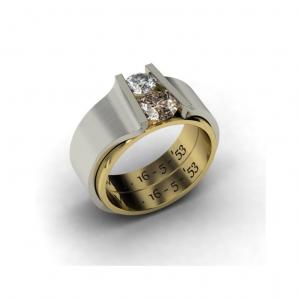 Veranderde trouwringen gravure behouden met briljant geslepen diamanten dubbele kroning cober