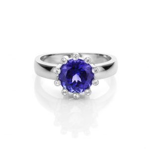 Witgouden 18 karaat ring met blauwe tanzaniet en diamanten something blue cober