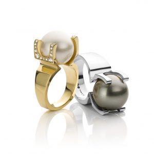 exclusieve ringen met tahitiparels en diamanten in 18 karaat geelgoud of witgoud spiderpearls cober exclusieve ringen