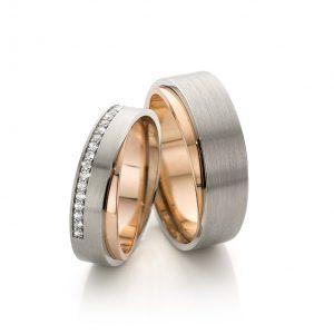 handgemaakte trouwringen 14 karaat witgoud en rosegoud met briljant geslepen diamanten in damesring high society cober