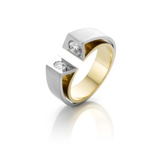 ring witgoud met geelgoud en diamanten at first sight cober