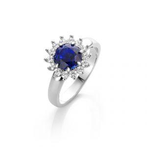 witgouden 18 karaat exclusieve ring met saffier en diamanten timeless memory cober