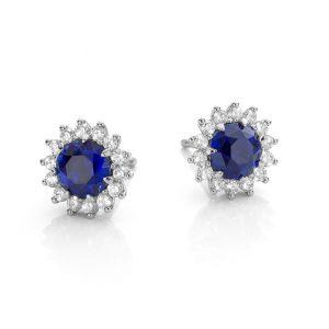 witgouden exclusieve oorbellen met saffieren en omringd door diamanten