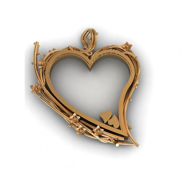 hanger as hart met takjes witgoud 14 karaat cober
