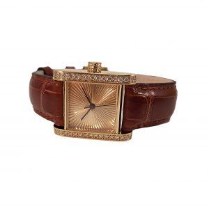 Cober square one handgemaakt horloge met diamanten 18 karaat geelgoud