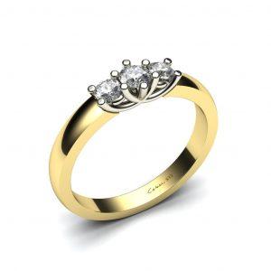 Bicolor verlovingsring met 3 diamanten