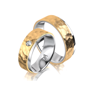 Moderne Bicolor Meister trouwring met diamant