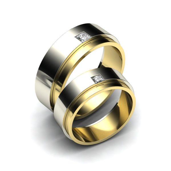 Bicolor trouwringen voor mannen met diamant
