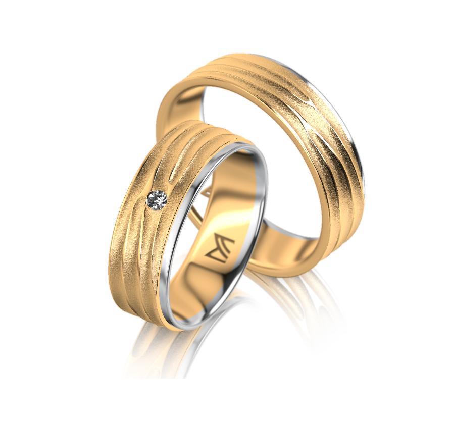 Geel- witgouden Meister trouwringen met diamant