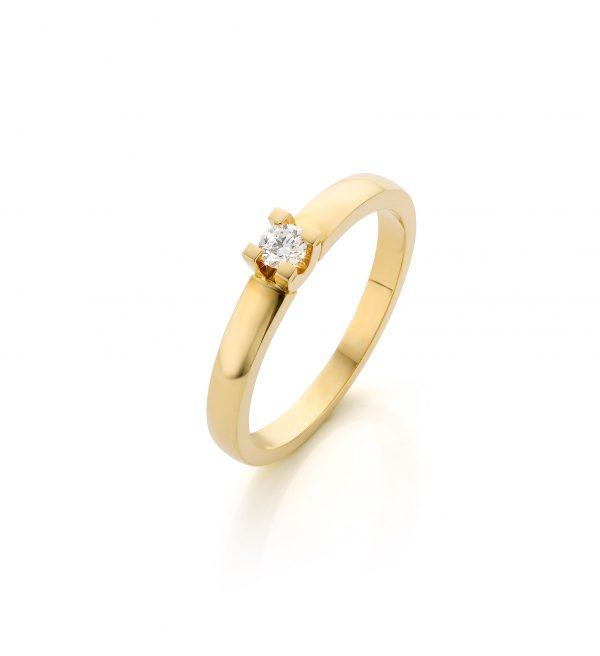 Klassieke geelgouden verlovingsring