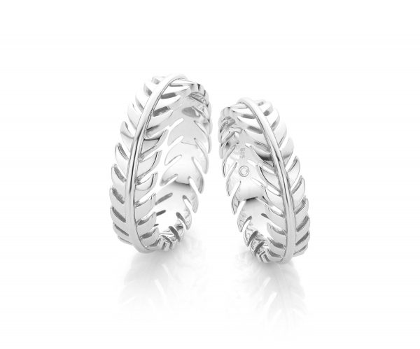 Leaf shaped white gold wedding rings