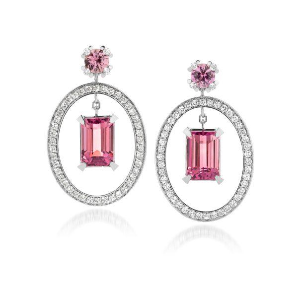 Oorbellen met diamant, roze saffier en roze toermalijn