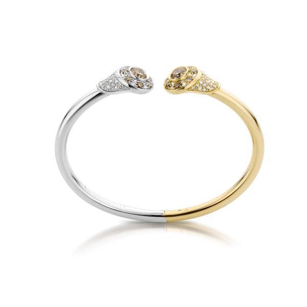 Armband met bruine diamanten gemaakt van 14 karaat witgoud met geelgoud.